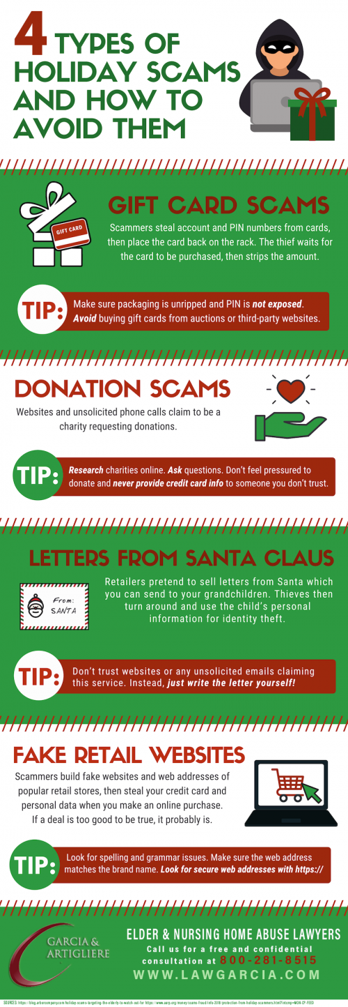Understand how scammers targetthe elderly over the holiday season. View more for these holiday scams here - https://www.lawgarcia.com/4-types-of-holiday-scams-and-how-to-avoid-them-infographic/