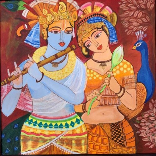 Radha-Krishna' are names that cannot be taken without the other. These two names are always spoken in a single breath as if they are one. The artwork has been painted using acrylic colors on Canvas. Dimensions are of 30 x 32 inches and artwork has been framed brown color. Check acrylic paintings for sale here.  https://www.artbysiri.in/my-art-works/radhakrishna