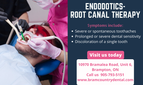 Are you suffering from spontaneous toothaches, dental sensitivity, or discoloration of a single tooth? It is an indication that your teeth need root canal therapy. Get your root canal therapy done at your best dentist in Brampton Bramcountry Dental and help save your tooth from getting worse.  Contact us today call us: 905-793-5151 or visit us www.bramcountrydental.com/endodotics-root-canal-therapy