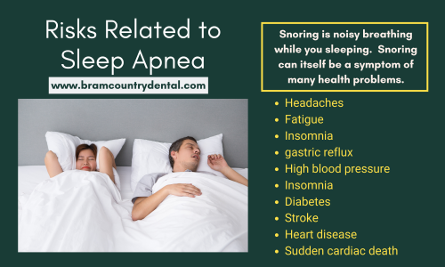 Snoring is heavy breathing while you sleeping. Snoring can itself be a symptom of many health problems. consultation today at Bram Country, our sleep apnea specialist will assess your needs and create a customized treatment plan to help you with your condition and decrease your risk for more serious side effects. call us - 905-793-5151 or visit at http://bramcountrydental.com/sleep-apnea-and-snoring/