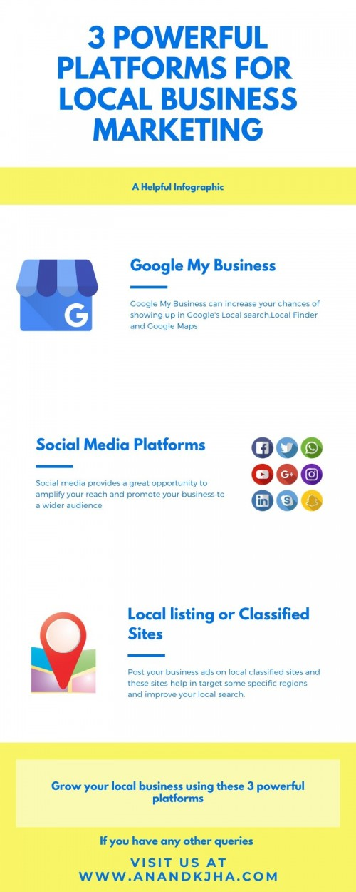 Check this post to know how to grow your local business using these 3 powerful platforms.  https://www.anandkjha.com/3-powerful-platforms-for-local-business-marketing/