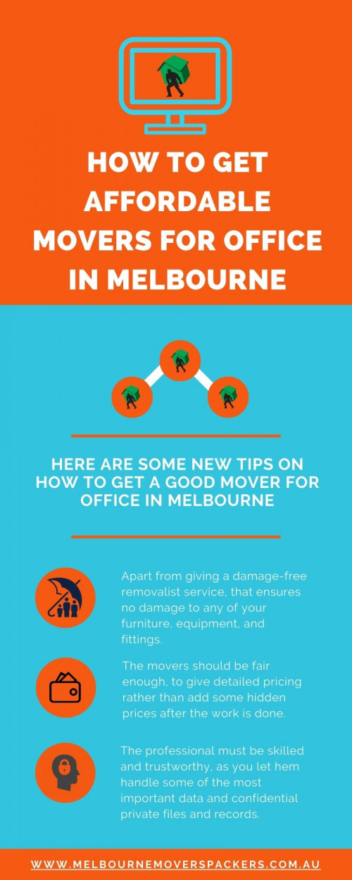 Do you need a removalist service provider to move your office to Melbourne? The movers for office in Melbourne are easy to find but not all reliable.Anyone can promise the safe movement of our things just like when we shift our house. But the movers of office in Melbourne must have some extra qualification apart from experienced staff, on-time delivery and damage-free delivery.  https://www.melbournemoverspackers.com.au/how-to-get-affordable-movers-for-office-in-melbourne/