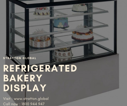 Refrigerated bakery display with matching Bain Marie, Grab and Go or ambient cabinets. Ergonomic designs for ease of use.Having display pan with adjustable inclination and Stainless steel cooler evaporator boiler.Color options suitable for decoration or solid wood applications.  https://stratton.global/product/baker-refrigeration/