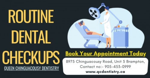 Health care professionals recommend getting Routine Dental Checkups at least twice a year. It is important to maintain a beautiful and healthy smile. So what you're waiting for schedule your appointment today visit at best Dentist on Chinguacousy Rd, contact details are given below. We follow all safety measures and precautions during the visit: www.qcdentistry.ca  #Teeth #DentalCare #Checkups #Dentist