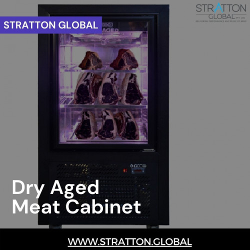 Dry ageing meat cabinet for Domestic use. It is 151 cm high and is also suitable for restaurants that do not have enough area to utilise a larger dry age cabinet. Stratton is able to produce Dry Aging fridges to custom specifications.Hanger Piped and 3 stainless shelves and with fan cooled.  https://stratton.global/product/dry-aged-meat-cabinet/