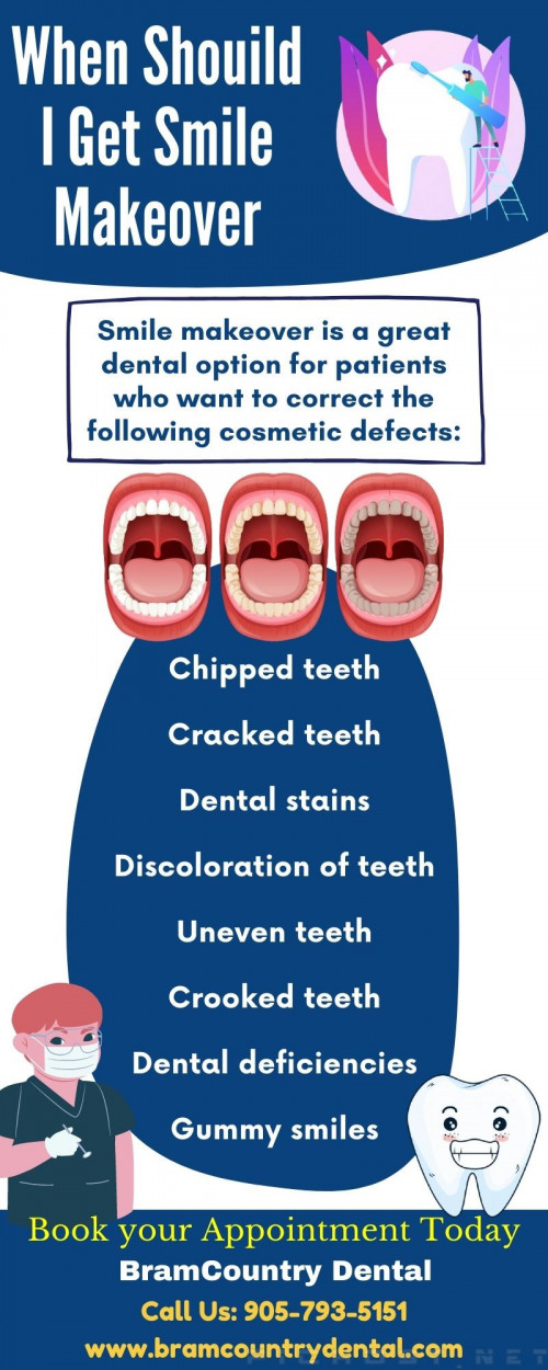 Smile makeover is a great dental treatment option for patients who want to correct the following cosmetic defects, but when. Read this Image to get to know when you must get Smile makeover. To know more visit www.bramcountrydental.com #Smilemakeover #Teeth #HealthyTeeth #DentaCare