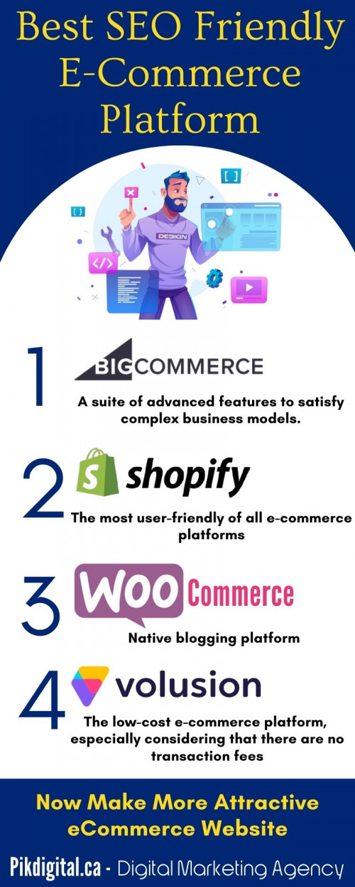 We've compared the top e-commerce builder platforms like BigCommerce, Shopify, WooCommerce, Volusion, so you can learn which one fits your particular business needs perfectly. To know more visit: www.pikdigital.ca #Marketing #eCommerce #SEO #website