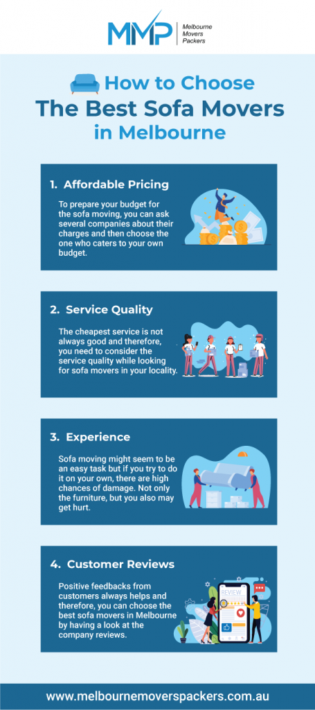 If you are on the lookout of the best sofa movers in Melbourne, you need to consider multiple aspects of their service while hiring them. Hence, you may get confused thinking whom to choose for your relocation, considering all of these companies approach you nicely, only a few satisfy you with proper execution. To make this entire task easier for you, here are some essential tips. Read on to know how to choose the best sofa movers in Melbourne.  https://www.melbournemoverspackers.com.au/how-to-choose-the-best-sofa-movers-in-melbourne/