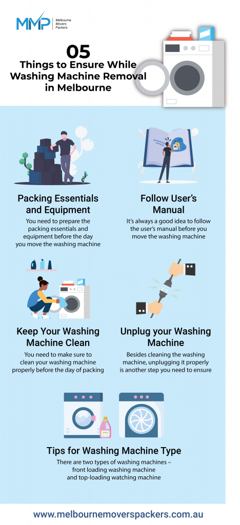 Appliances like washing machines or refrigerators are not only heavyweight but also sophisticated to handle. Hence, washing machine removal requires the right packing techniques that we will share here. Even if you hire reliable professionals, knowing these techniques will help you further in ensuring a safe removal. Washing machine removal requires a proper plan and execution and therefore, here are the 5 things that you need to ensure before the day of shifting.  https://www.melbournemoverspackers.com.au/5-things-to-ensure-while-washing-machine-removal-in-melbourne/