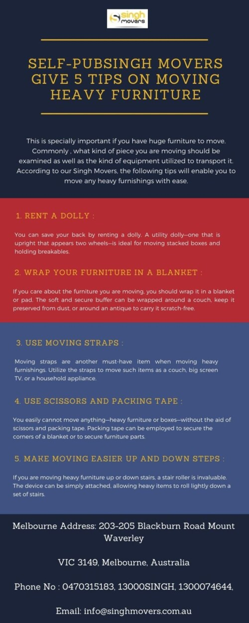 Here are few important tips for moving furniture to your next house, apartment, or even just another room. https://www.singhmovers.com.au/furniture-delivery-melbourne