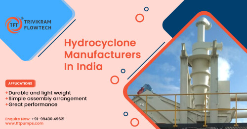 Hydrocyclone Suppliers in India  Hydrocyclones are often used in two or more stages to achieve the necessary clarity of the overflow liquid or to densify the underflow liquid. Hydrocyclones significantly reduce the size of equipment needed for subsequent processes. Buy here @ TFTpumps  APPLICATIONS  -  Durable and light weight  -  Simple assembly arrangement  -  Great performance  📞 Enquire Now for cost & specifications: +91-9943049621  🌐 https://tftpumps.com/productspost/hydrocyclone/