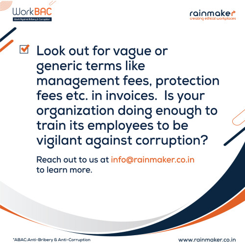Anti corruption training India is the most favourable approach to teach the workforce, reduce the dangers of bribery, and dispose of the denials of basic freedoms related to these dangers. Powerful FCPA compliance Projects assist companies Keep away from Costs, Loss of Business Openings, and Government Obligation.  https://rainmaker.co.in/workbac/