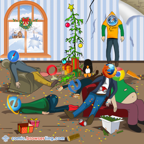 Partying with browsers is a bad idea.  For more Internet browser jokes visit https://comic.browserling.com. New jokes about IE, Edge, Firefox, Safari and Opera every week!